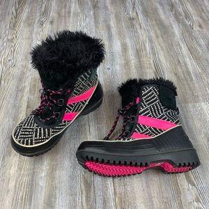 Sorel Tivoli II Black Pink Waterproof Winter Boots